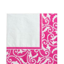 Bright Pink Ornamental Scroll Lunch Napkins 16ct