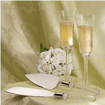 Swirl Wedding Toasting Glasses & Server Set