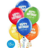 A Year to Celebrate Happy Birthday Balloons 12in 15ct