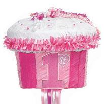 Pull String 1st Birthday Cupcake Pinata
