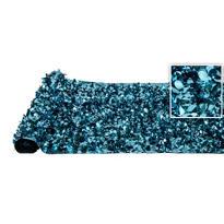 Caribbean Blue Metallic Floral Sheeting