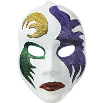 3D White Mardi Gras Mask Decoration 21in