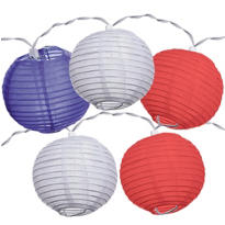 Red, White & Blue Round Lantern Light Set 11ft
