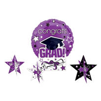 Purple Congrats Grad Graduation Balloon Centerpiece 5pc