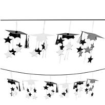 White 3D Grad Cap Graduation Garland 12ft