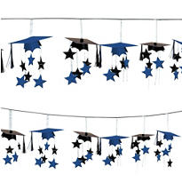 Royal Blue 3D Grad Cap Graduation Garland 12ft