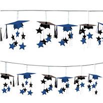 Royal Blue 3D Grad Cap Graduation Garland 12ft