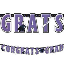 Purple Graduation Letter Banner 10ft
