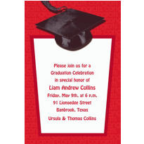Red Congrats Grad Custom Graduation Invitation