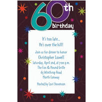 The Party Continues 60th Birthday Custom Invitation