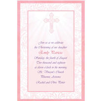 Radiant Cross Pink Custom Invitation