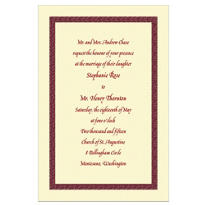 Narrow Maroon Texture/Ecru Custom Invitation