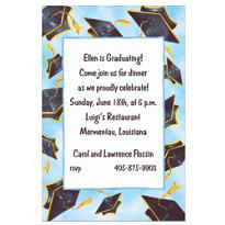 Black Flying Mortarboards Custom Graduation Invitation