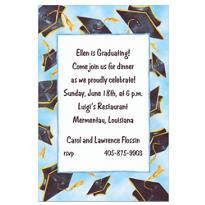 Black Flying Mortarboards Custom Graduation Invitation