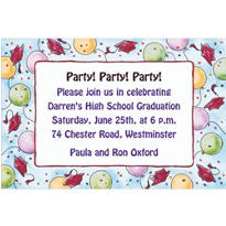Red Balloons and Caps Custom Graduation Invitation