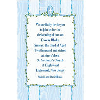 Blue Buds and Cross Custom Invitation