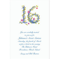 Custom 16 with Floral Vine Invitations
