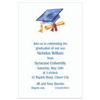 Custom Blue Cap & Diploma Graduation Invitations