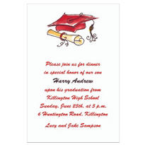 Fun Cap & Diploma Crimson Custom Invitation