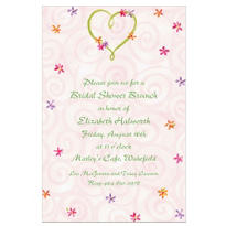 Custom Heart with Flowers Wedding Invitations