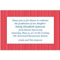 Bright Red Ticking Stripe Custom Invitation
