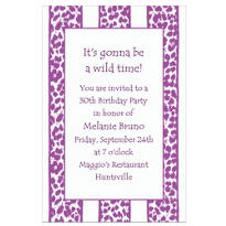 Lilac Leopard Stripe Custom Invitation
