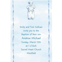 Christening Suit on Blue Custom Invitation