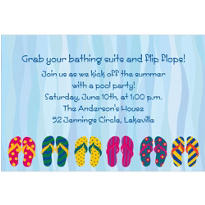 Pool Party Flip Flop Custom Invitation
