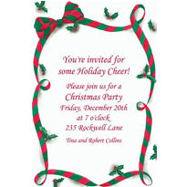 Christmas Ribbon with Holly Custom Invitation