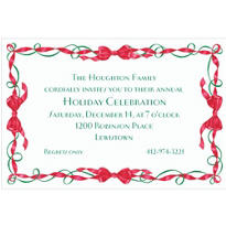 Red and Green Ribbon Border Custom Christmas Invitation
