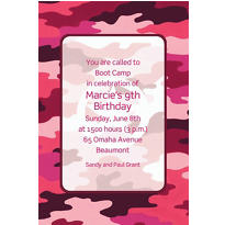 Custom Pink Camouflage Invitations