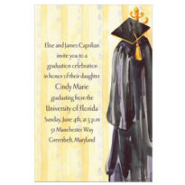 Black Graduation Gown Custom Graduation Invitation
