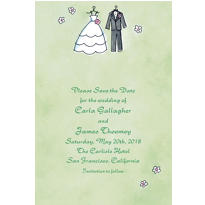 Bride & Groom Outfits Custom Wedding Invitation
