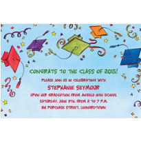 Multi Color Tossed Caps & Stars Custom Graduation Invitation