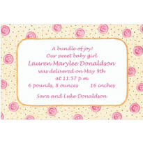 Pink Baby Buttons Custom Birth Announcements