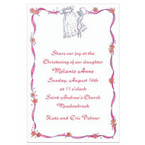 Christening Gown with Pink Ribbon Custom Invitation