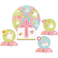 Religious Balloon Centerpiece - Baby Pink
