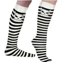 Skeleton Striped Over the Knee Socks