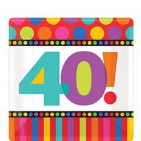 Dots & Stripes 40th Birthday Dessert Plates 8ct