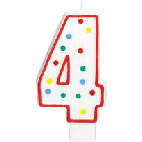 Number 4 Polka Dot Birthday Candle with Glitter 5in