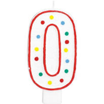 Giant Red Outline Glitter Polka Dot Number 0 Candle
