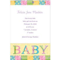 Cute As A Button Custom Birth Announcements