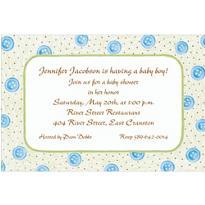 Blue Buttons Custom Baby Shower Invitation