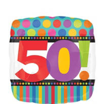 50th Birthday Dots & Stripes Foil Balloon 18in