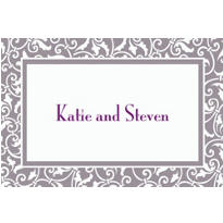 Silver Ornamental Scroll Custom Thank You Note