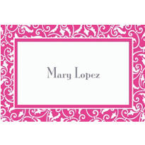 Bright Pink Ornamental Scroll Custom Thank You Note