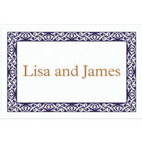 Embellished Borders Navy Custom Thank You Note