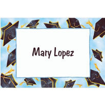 Black Flying Mortarboards Custom Thank You Notes