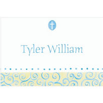 Tiny Blue Cross with Swirls Custom Thank You Note