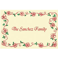 Ribbon Border with Holly Custom Christmas Thank You Note